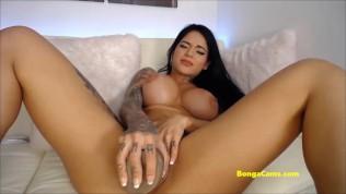BongaCams busty latina girl squirts from a huge dildo!