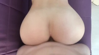 Long doggy fuck, cum on ass and then clean, suck cock with deep blowjob