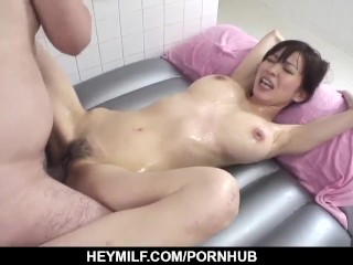 Miina Kanno gets busy with dick in the soapy ba