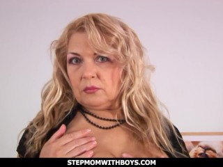 Sexy Blonde Busty Mature Stepmom Fucks Stepson