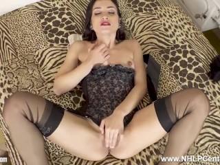Saucy Latin Brunette Valentina Bianco Masturbates In Sheer Vintage Nylons