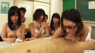 Japanese High School Schoolgirls Watch Teacher Have Hot Sex