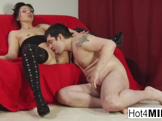 MILF keeps her stockings on for fucking!