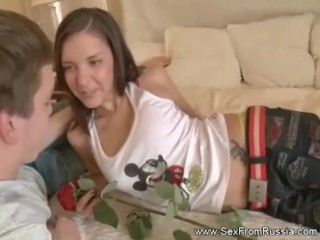 Riding Anal With Brunette Russian Babe