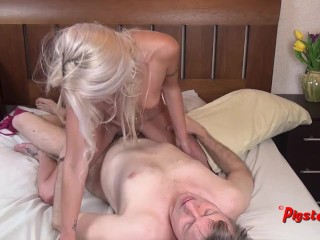Horny Babe Gets Ho Treatment Then Rides Old Cameraman To Strong Orgasm