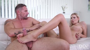 Busty Bombshell Florane Gets A Big Cock Stiff With Her Big Mouth And Feet