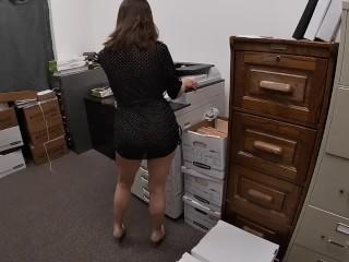 Don't get caught! GoPro POV fucking the office slut