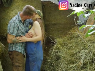 Farmer Girl with a Hairy Pussy is Fucked in the Hay - Outdoor Couple Sex