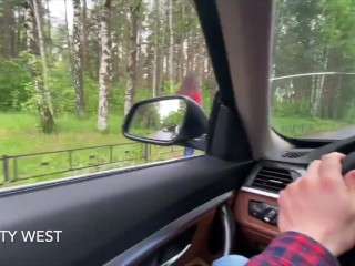18 year old Russian girl sucks cock in a car for money. With dialogue