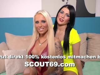 German Threesome Dirty Talk from Redhead Teen Tati and Tini