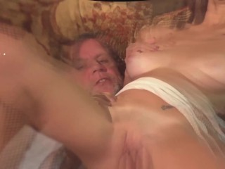 Brunette Rough Sex With Horny Grandpa On The Couch