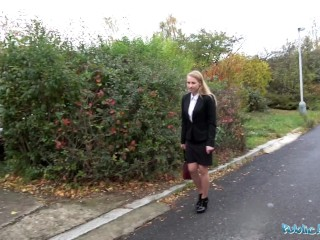 Public Agent Real Cute Busty Blonde Babe Fucked Through Tights At Roadside