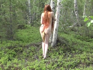 I walking naked through the forest with a fox tail butt plug