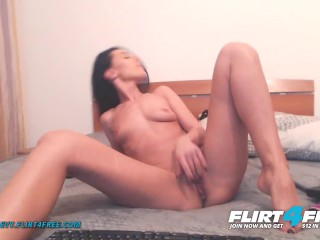 Flirt4Free - Evelyn Evy - Sexy Hot Brunette with Pierced Pussy DPs Her Holes