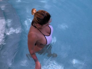 Big Tits MILF ended up sucking her boss dick in the pool and fucking him in the bathroom