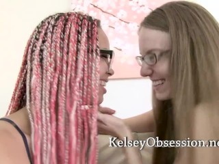 Two Lesbian Nerds in Glasses Kissing and Breath Smelling with Kelsey Obsession and Ashley Luvbug
