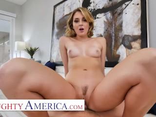 Naughty America cheating wife Charlotte Sins walks next door For Big Dick