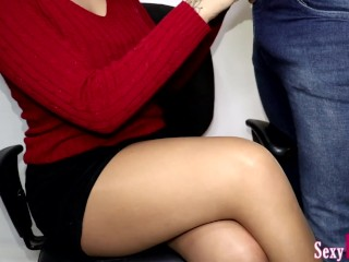 Secretary Jerks Off New Boy at Work until Cum on Crossed Legs in Pantyhose #8