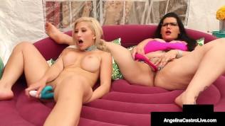 Curvy Cuban Angelina Castro & Thick Latina Cristi Ann Dildo Drill & Cum!