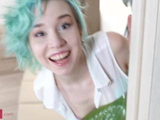 Slim4k: Alice Klay is a cute teen with green (cyan?) hair. Teen Enjoying Tight Ass Hard Sex