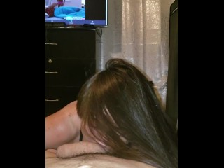 She got horny watching porn. She is so wet and rides my dick she earned a creampie