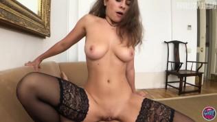 hot chick in black stockings seduce guy and fuck him in pov