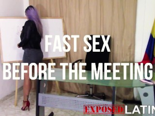 ASHLEY HAS A MEETING, BUT JUST BEFORE IT GETS VERY HOT AND SHE CAN'T STAND IT