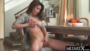 Hot girl with big natural tits fingers her shaved pussy to orgasm