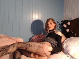 Teen Femboy plays with vibrating butt toy