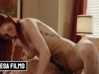 Bellesa – Hot Redhead Lacy Lennon Plays With Her Toy & A Big Cock