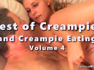 Creampie compilation video of hot wives filled with creampies and their cuckolds eat them out