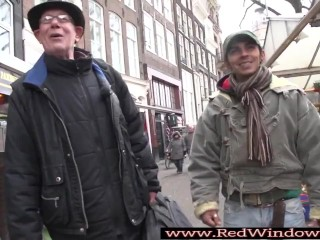 Dicksucking whore plowed in red light district