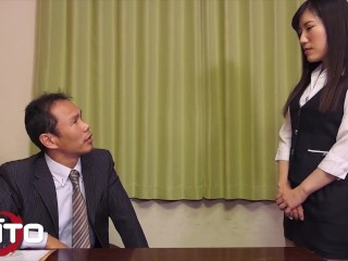Erito - Slender Japanese Secretary Gets Her Shaved Pussy Filled Up With Hot Cum