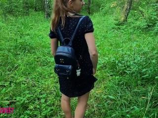 Schoolgirl jerks off and sucks dick to classmate in a public park near the school - POV