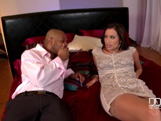 Sensual Jane's cleavage crammed with big black cock until covered with creamy jizz