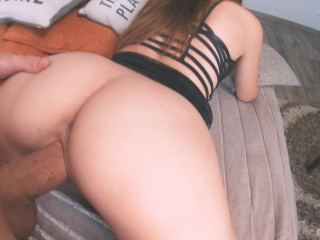 Pounded her glistening snatch in doggy style, cum inside