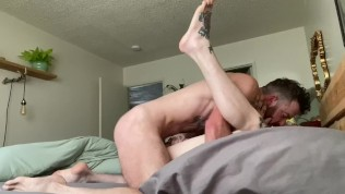 Waking up tatted boy with rimming and his morning fuck