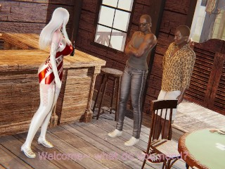 honey select 2 Beautiful white-haired girl provides special service in pub