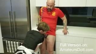 Femboy Gets His Rough Aussie Sugar Daddy Off When He Gets Home