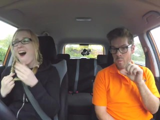 Fake Driving School Louise Lee Squirting after a hard fuck and fingering in a car