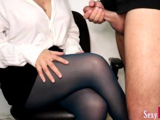 Secretary Jerks Off New Boy at Work until Cum on Crossed Legs in Pantyhose #10