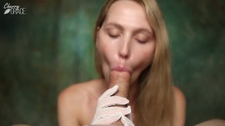 POV Gloves Blowjob – Graceful Lady With GLOVES Gets Huge CUM IN MOUTH