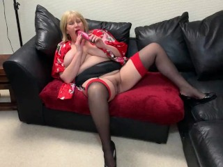 Mature Big Tit Whore Fucks herself on camera. And the cameraman can't resist getting his cock out.