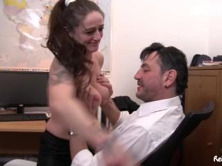 Reife Swinger - Big Tits German Mature Secretary GILF's Hardcore Threesome With Their Boss