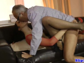Younger Italian threeway banged with glamorous old woman