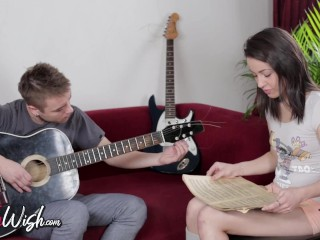 Dark-haired teen in sexy socks wants to learn how to play guitar, ends up enjoying anal