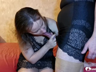 Wife gets wet from seeing her husband in stockings and takes his raging pecker.