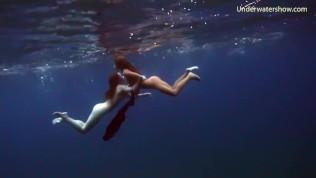 Underwater erotics with hot girls in the sea
