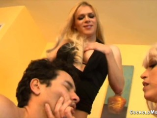 Creampie eating hot wives fucking lovers and cuckolds suck out the creampies and watch them fuck