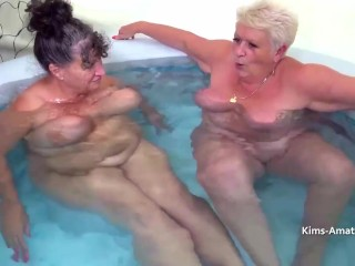 Big boobed older gals Kim and Joolz toying each other